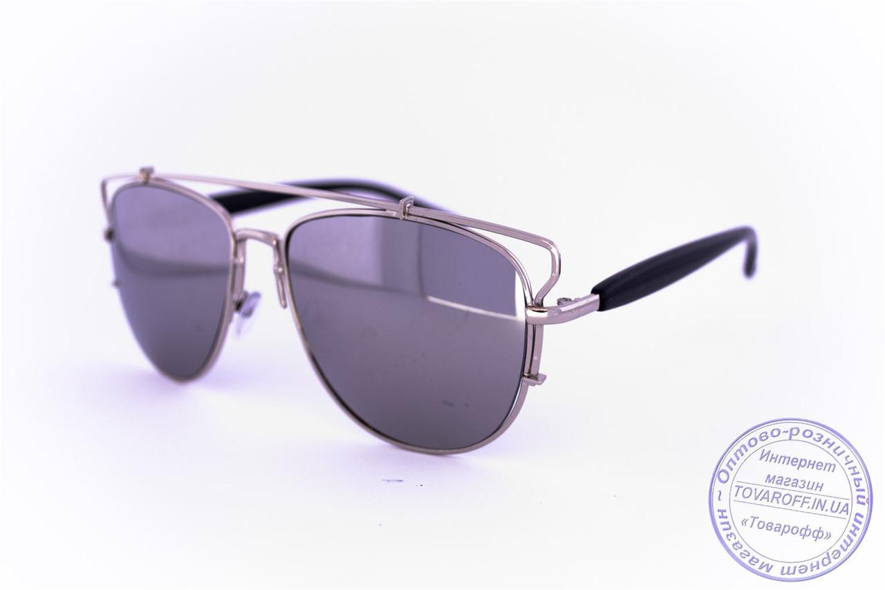 Оптом солнцезащитные зеркальные очки унисекс Авиатор - Стальные - 955