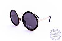 Оптом оригинальные круглые очки - Черные - 1010, фото 1