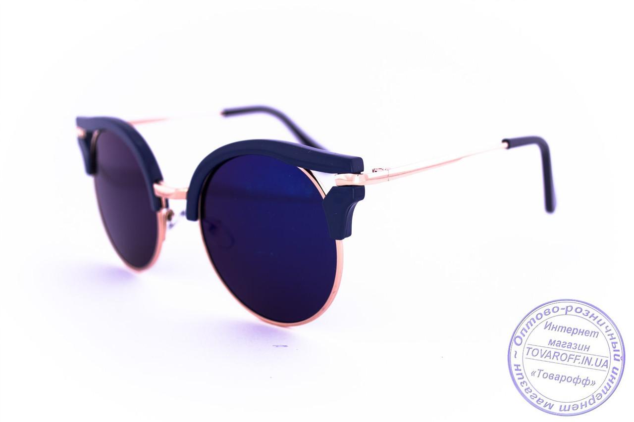 Оптом женские гламурные зеркальные очки Кошачий глаз - Синие - 1051