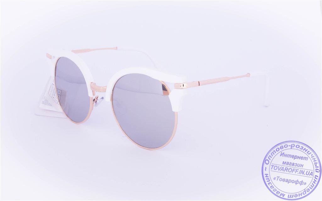 Оптом женские гламурные очки Кошачий глаз - Белые - 1051