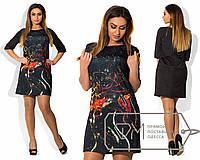 Стильное короткое черное платье из дайвинга с 3D принтом Боди-арт.  Арт-1711/41.