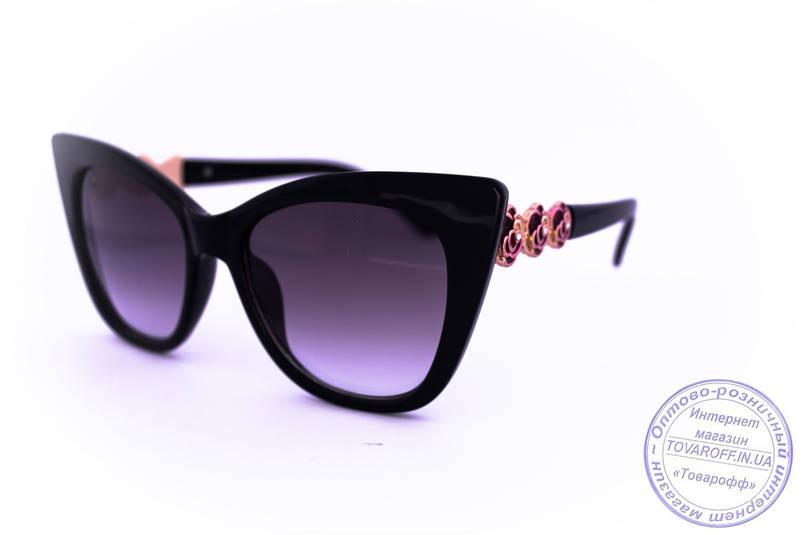 Стильні Оптом ретро окуляри Котяче око - Чорні - 1510, фото 2