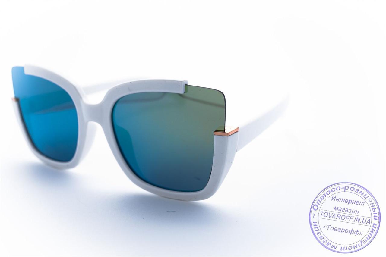 Оптом оригінальні квадратні сонцезахисні дзеркальні окуляри - Білі - 1520