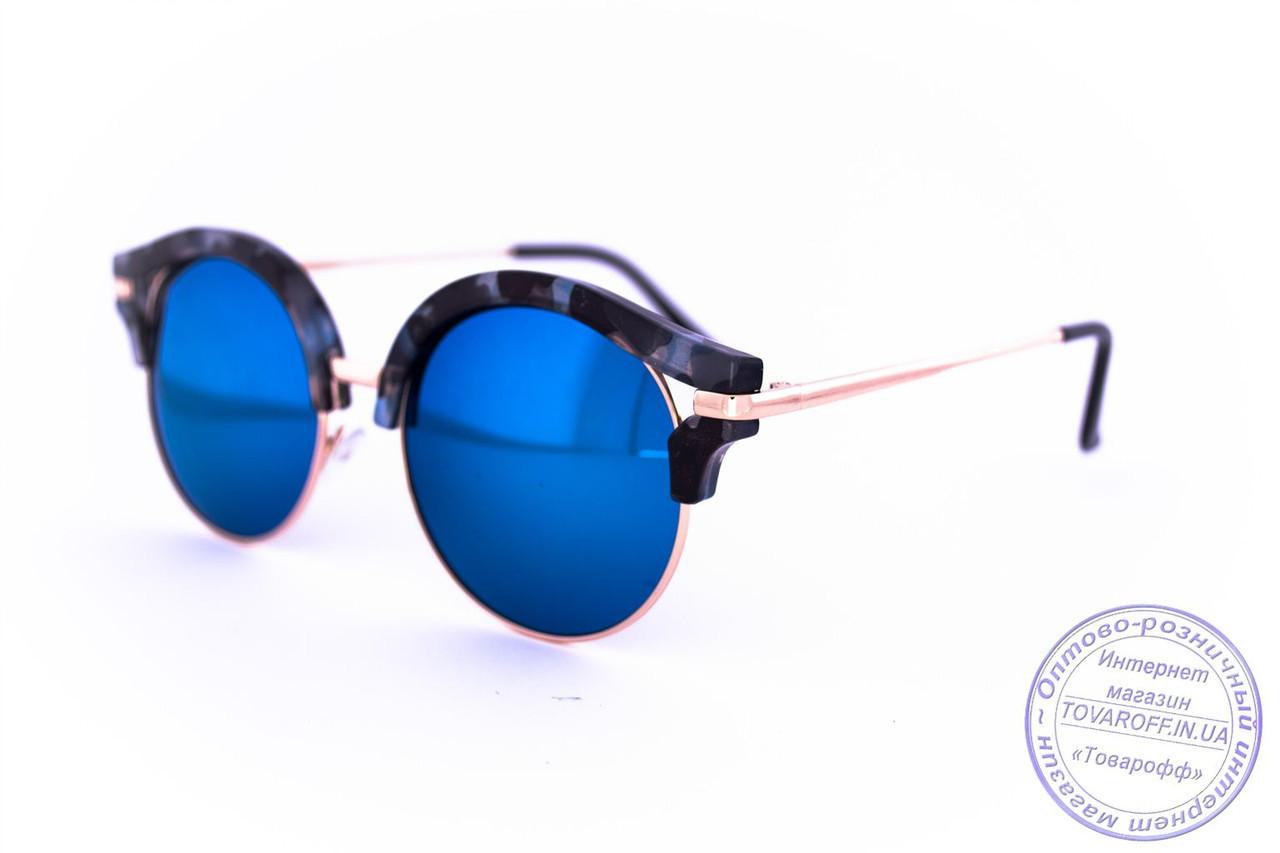 Оптом эксклюзивные солнцезащитные зеркальные очки Клабмастер - Синие - 1809