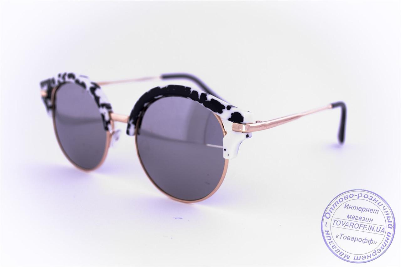 Оптом эксклюзивные солнцезащитные зеркальные очки Клабмастер - Черно-белые - 1809