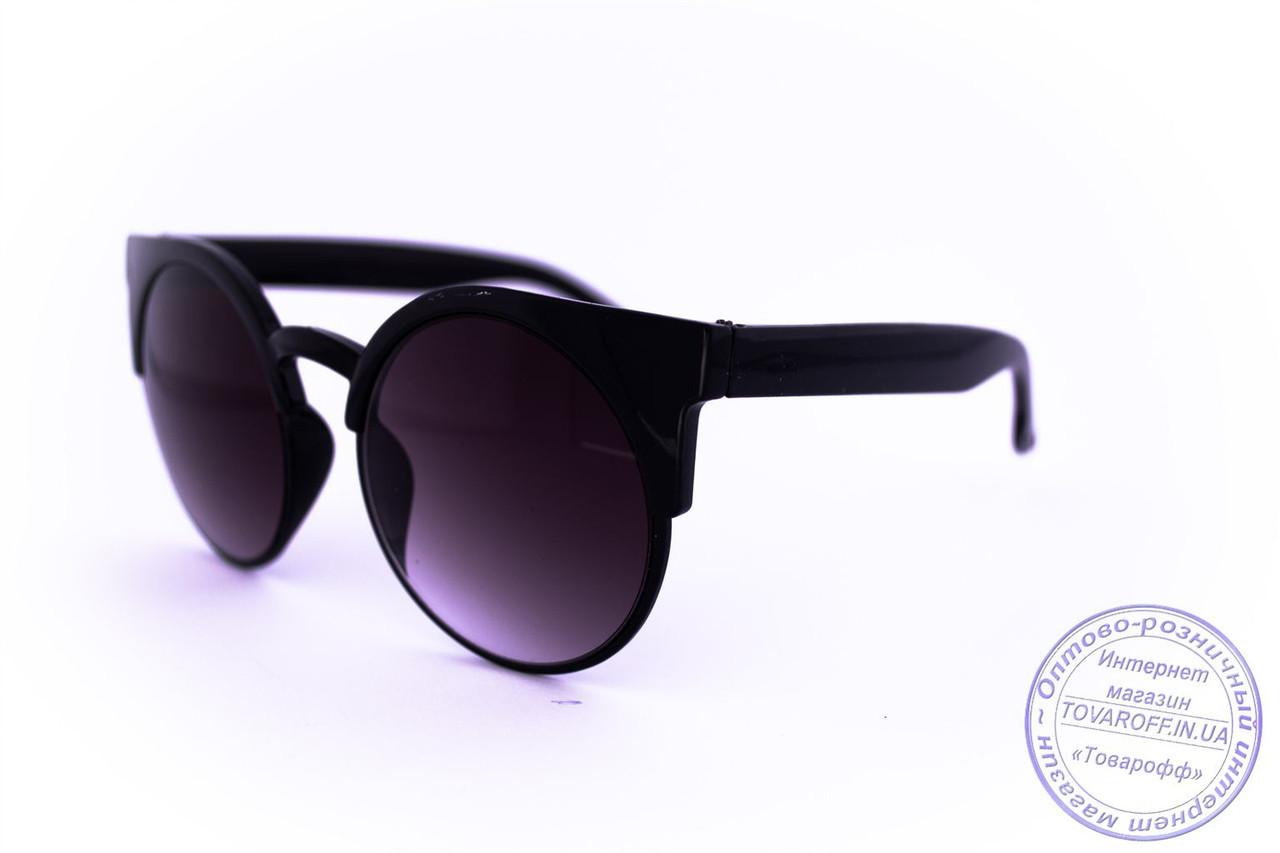 Оптом стильні сонцезахисні окуляри Броулайнеры - Чорні - 2015-226