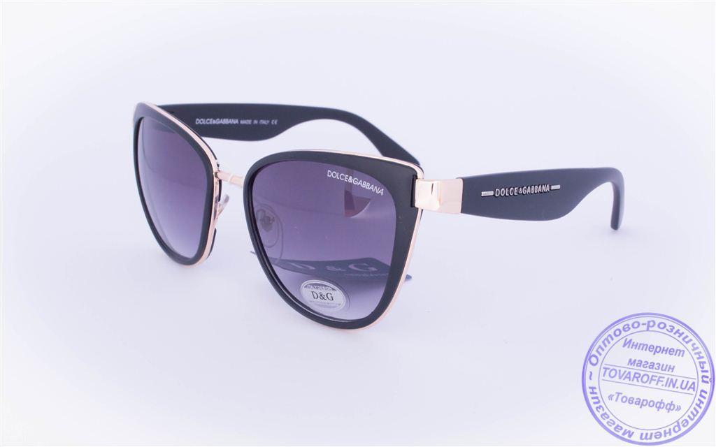 Оптом женские брендовые солнцезащитные очки D&G Кошачий глаз - Черные - 2017