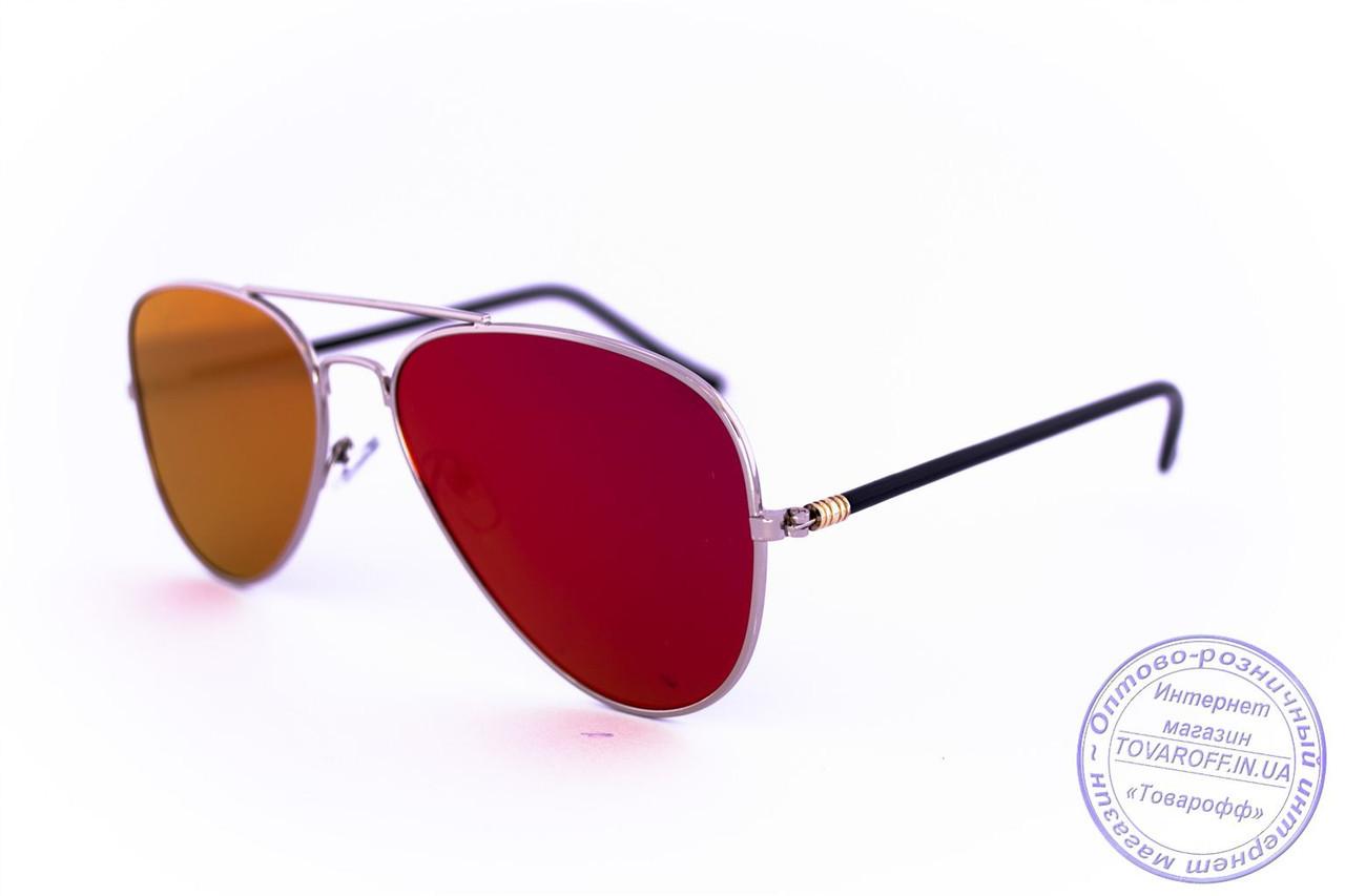 Оптом солнцезащитные зеркальные очки унисекс Авиатор - Стальные - 2206