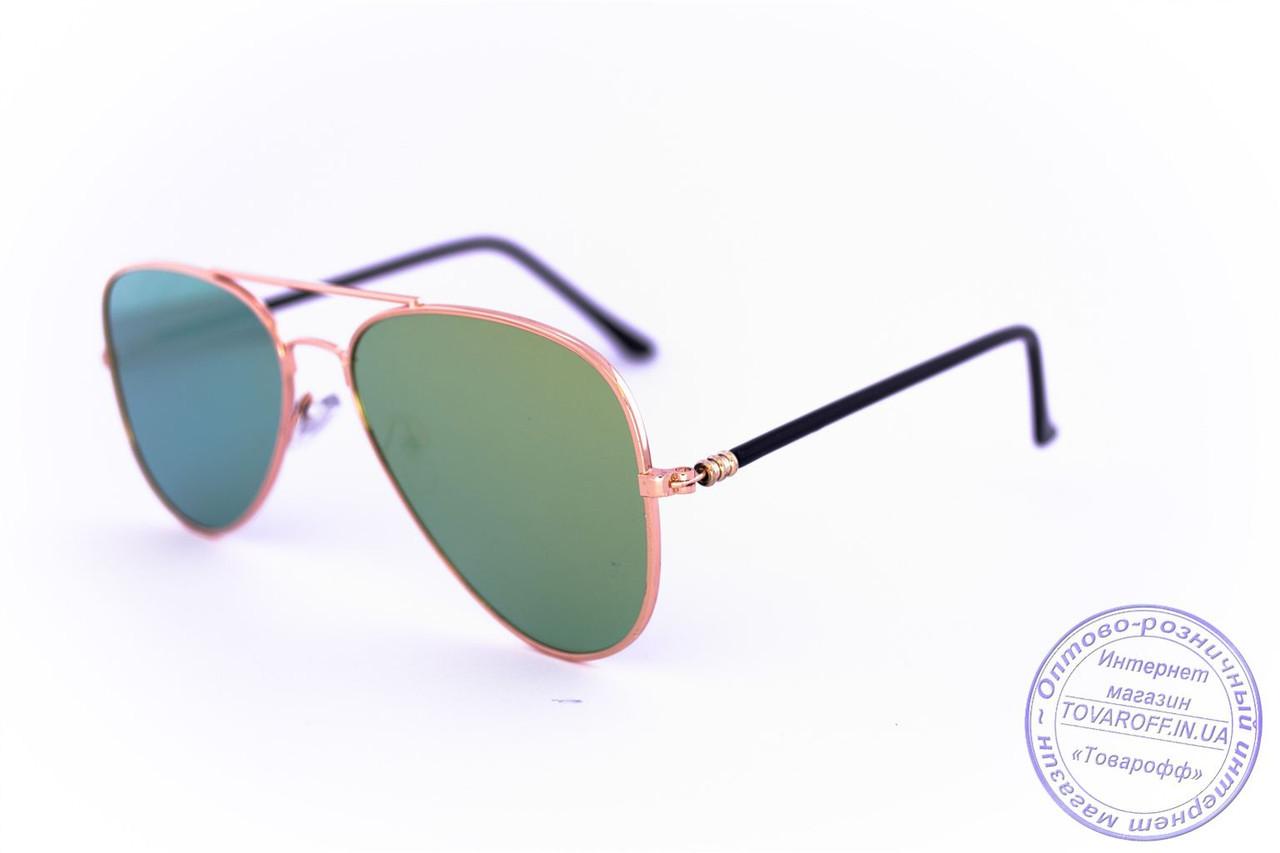 Оптом солнцезащитные зеркальные очки унисекс Авиатор - Золотые - 2206
