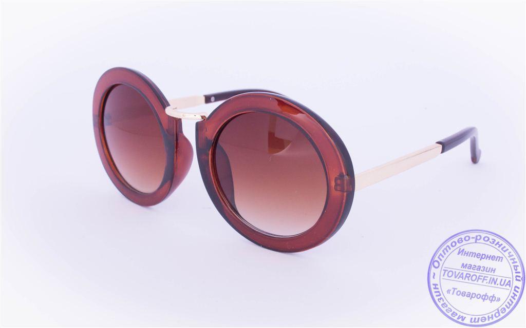 Оптом оригинальные круглые солнцезащитные очки - Коричневые - 2500