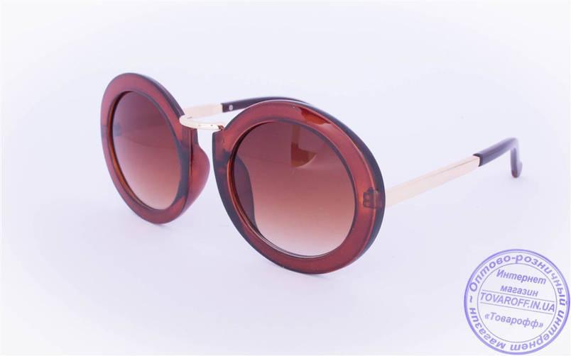 Оптом оригінальні круглі сонцезахисні окуляри Коричневі - 2500, фото 2