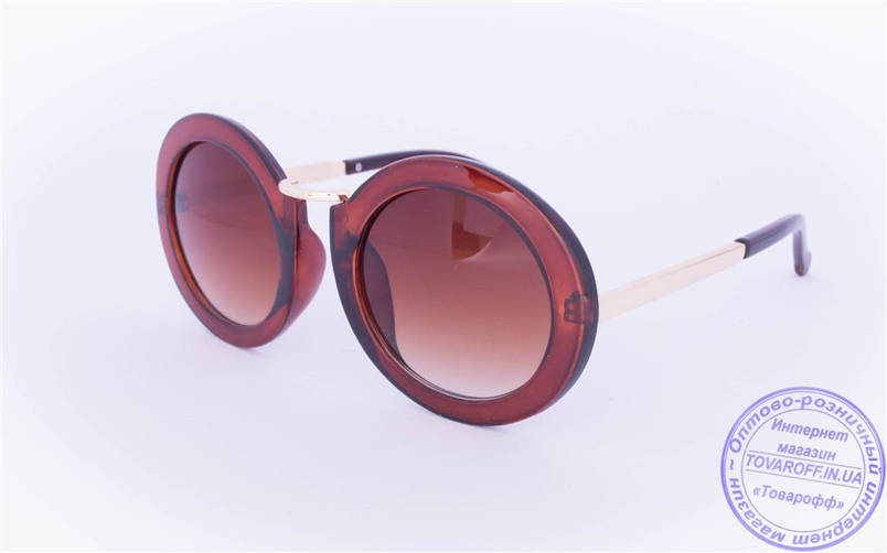 Оптом оригинальные круглые солнцезащитные очки - Коричневые - 2500, фото 2