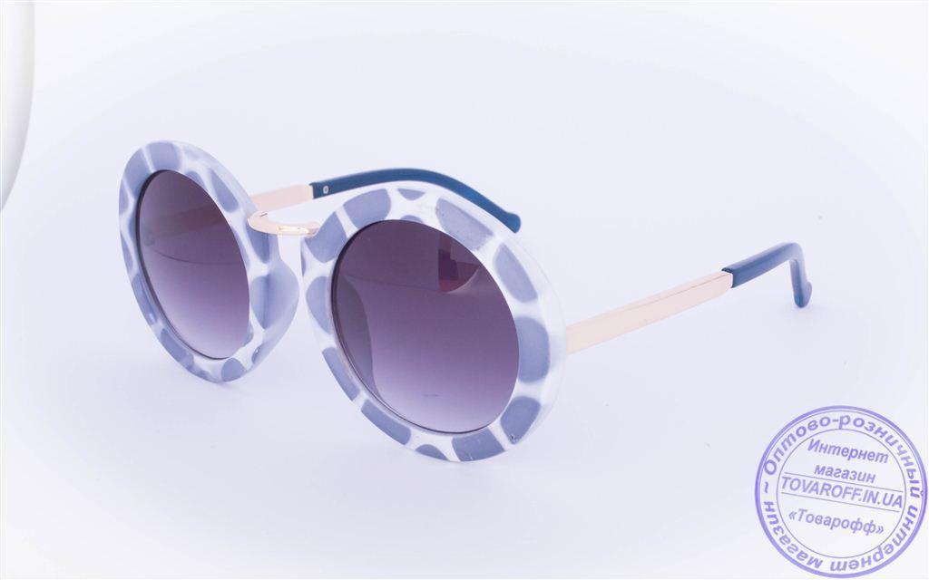 Оптом оригинальные круглые солнцезащитные очки - Синие - 2500