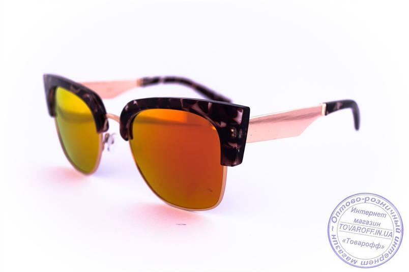 Оптом дзеркальні сонцезахисні окуляри Броулайнеры - Коричневі - 2823, фото 2