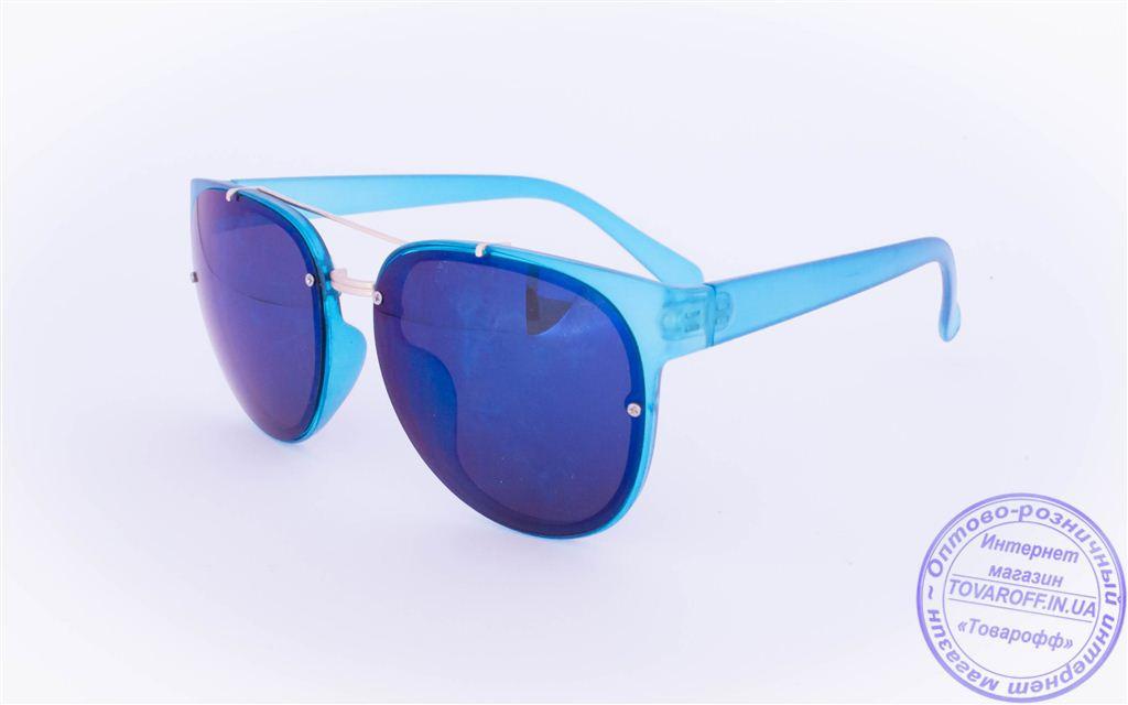 Оптом оригинальные солнцезащитные очки Авиатор с зеркальными стеклами - Голубые - 3229