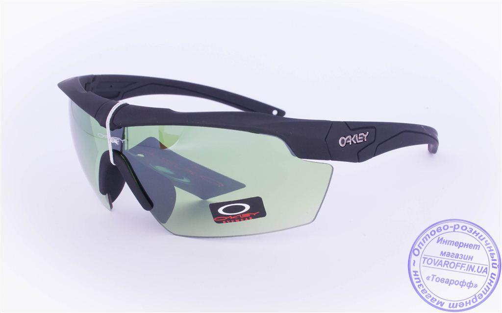 Оптом тактические брендовые очки-маска Oakley - Черные - 7931
