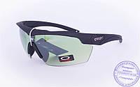 Оптом тактические брендовые очки-маска Oakley - Черные - 7931, фото 1