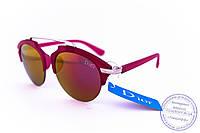 Оптом модные зеркальные солнцезащитные очки Dior Clubmaster - Малиновые - 8013