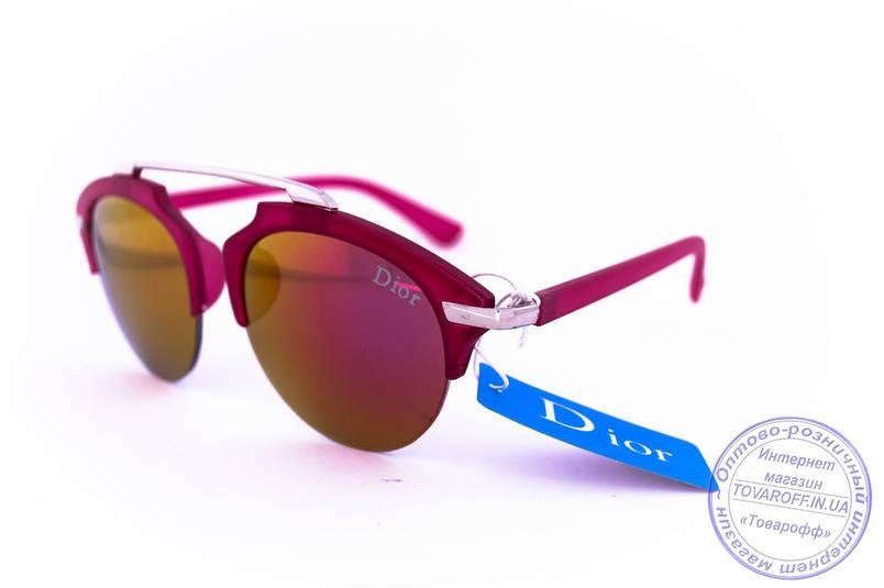 Оптом модні дзеркальні сонцезахисні окуляри Dior Clubmaster - Малинові - 8013, фото 2