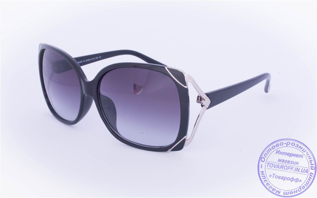 Оптом женские солнцезащитные очки - Черные - 9112