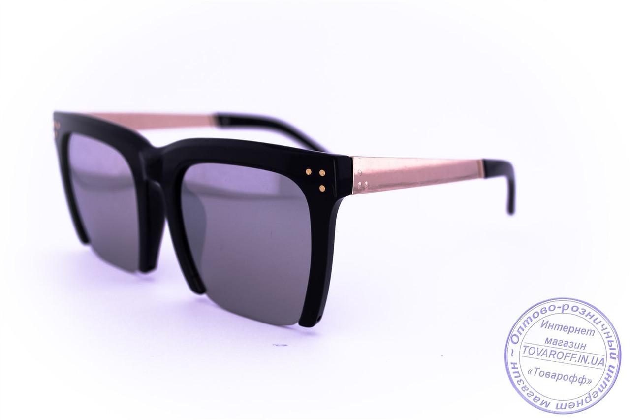 Оптом квадратные зеркальные очки - Черные - 13086