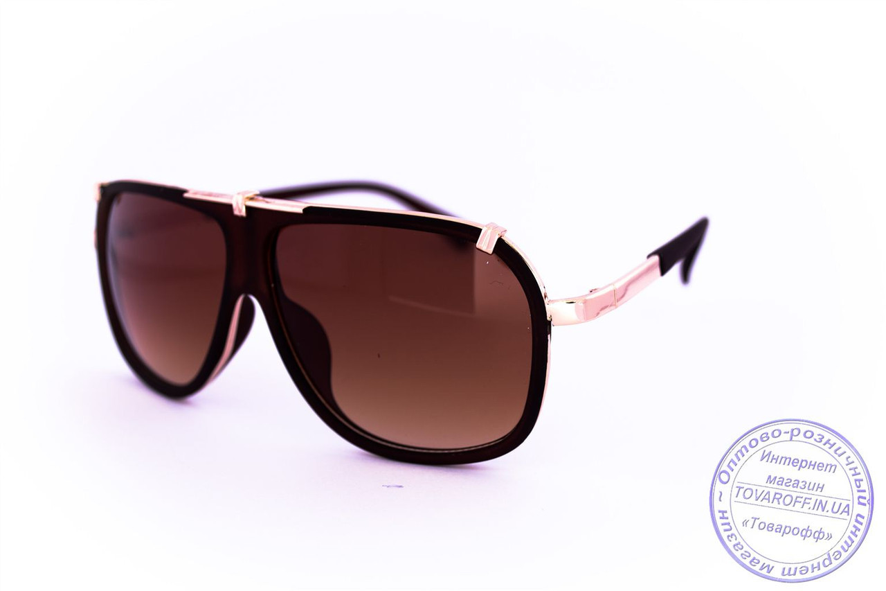 Оптом універсальні сонцезахисні матові окуляри в стилі Каррера - Коричневі - 23047