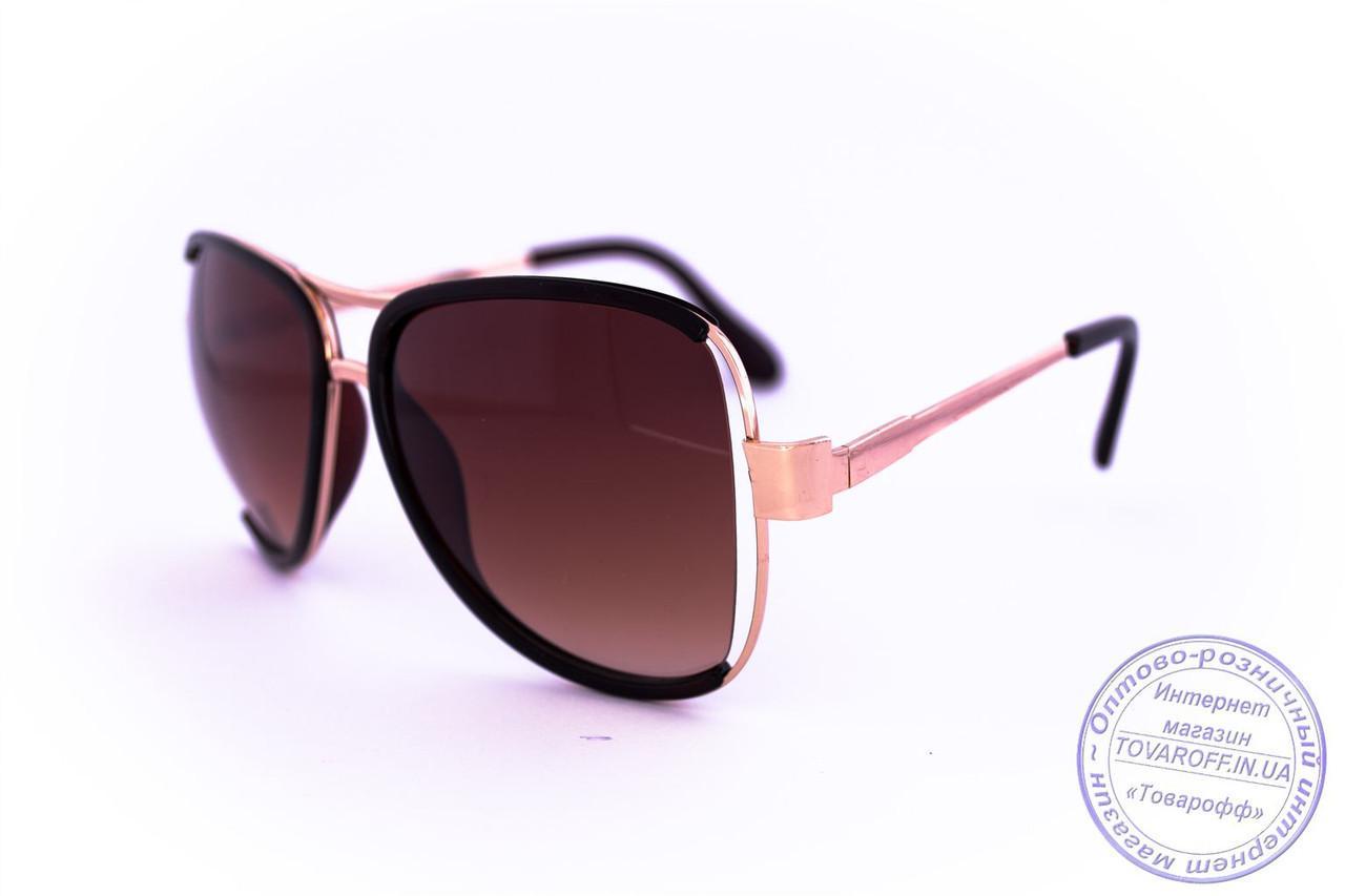 Оптом модные очки Aviator - Коричневые - 58265