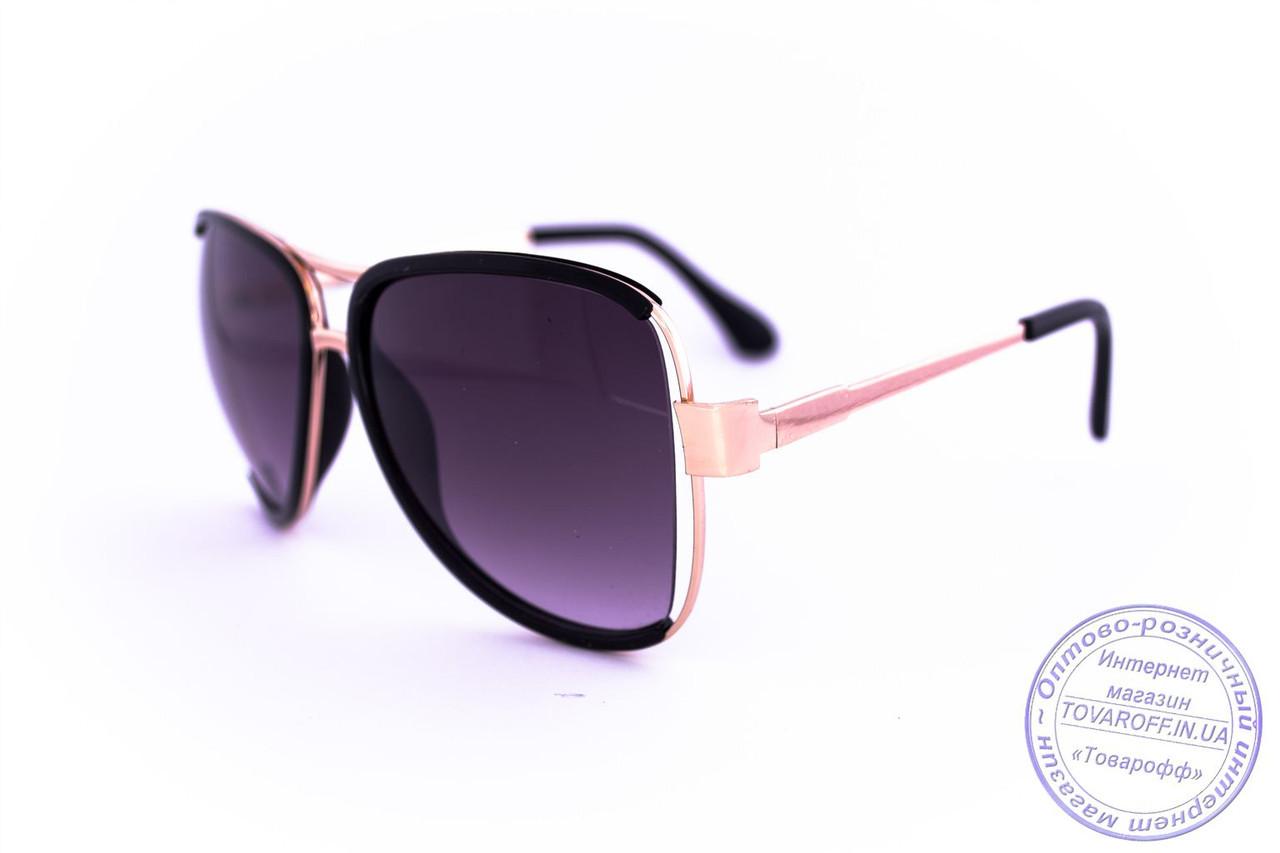 Оптом модные очки Aviator - Черные - 58265