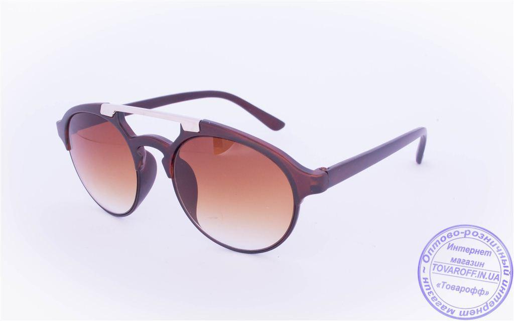 Оптом солнцезащитные очки овальной формы - Коричневые - 2015-205