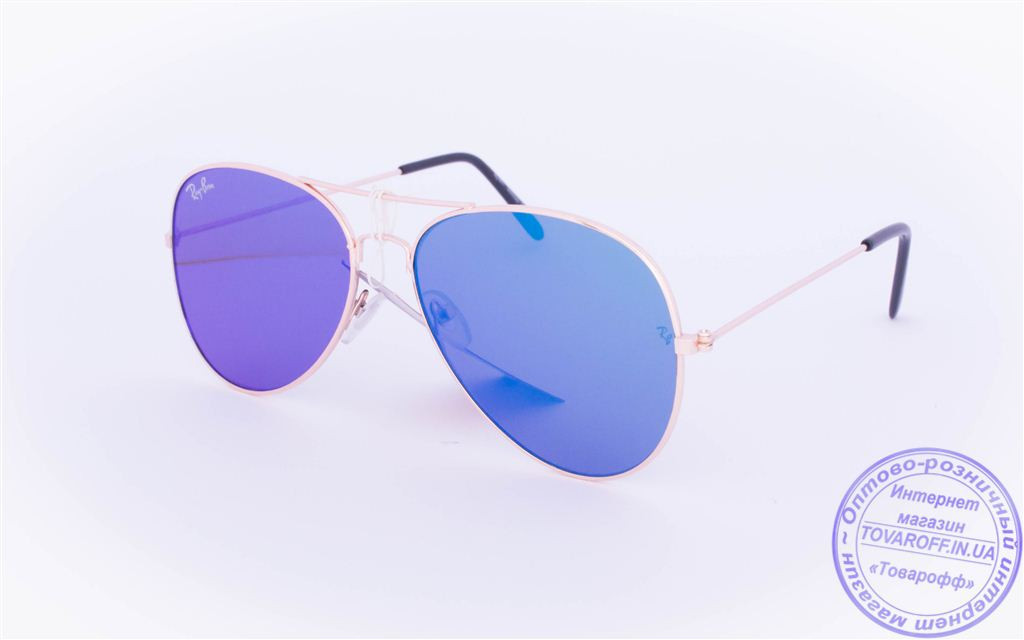 Оптом брендовые солнцезащитные очки Aviator с цветными зеркальными линзами - RB-1