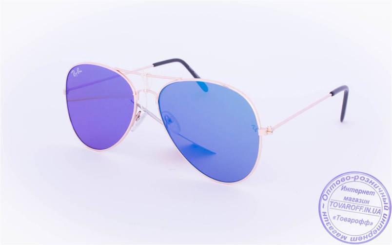 Оптом брендовые солнцезащитные очки Aviator с цветными зеркальными линзами - RB-1, фото 2