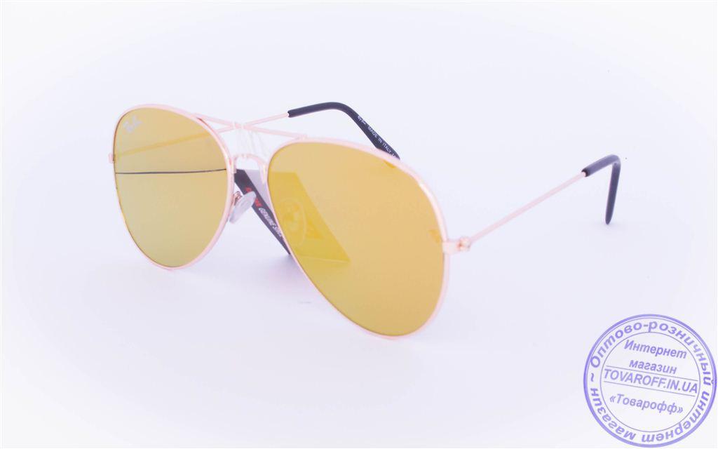 Оптом брендовые солнцезащитные очки Ray Ban Aviator с цветными зеркальными линзами - RB-1