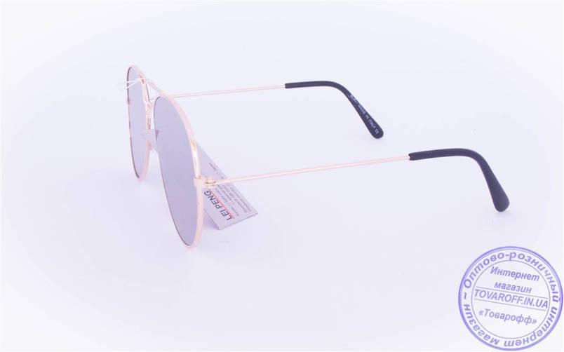 Оптом брендові сонцезахисні окуляри Aviator з сірими дзеркальними лінзами - RB-1, фото 2