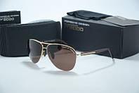 Солнцезащитные очки  Porsche Design золотые с коричневыми линзами, фото 1