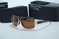 Солнцезащитные очки  Porsche Design мужские черные с коричневыми линзами , фото 1