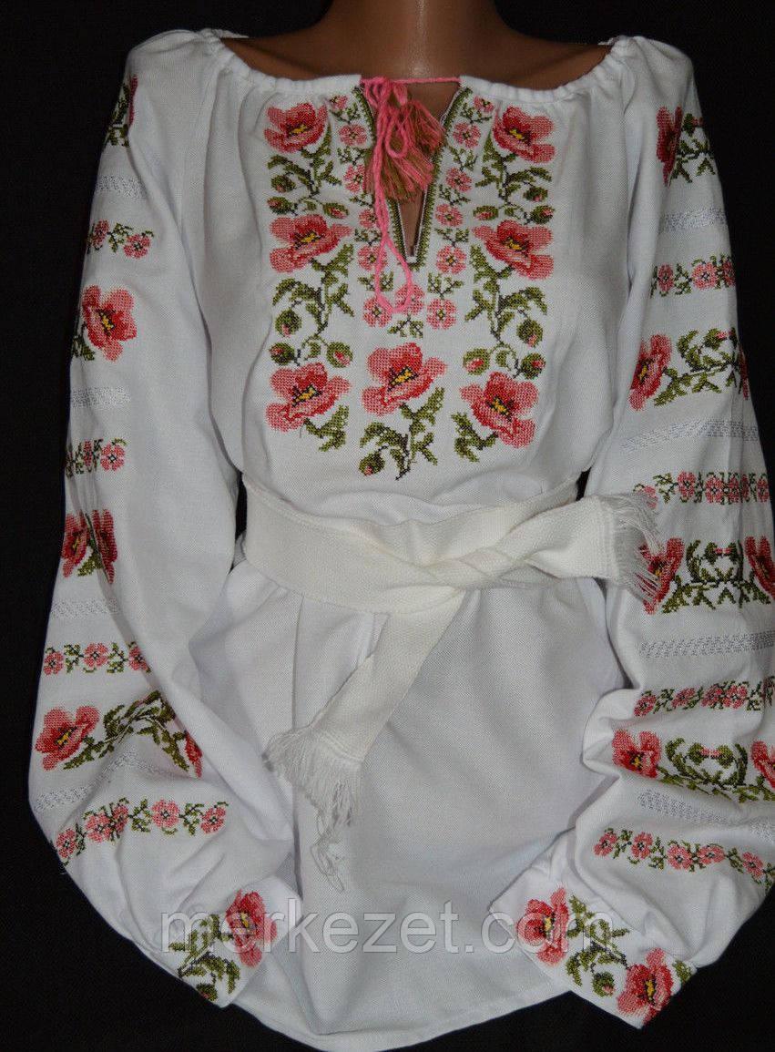 """Женская вышиванка. Вышиванка """"Розмаїття маків"""" на домотканном полотне.Льняна вишиванка"""