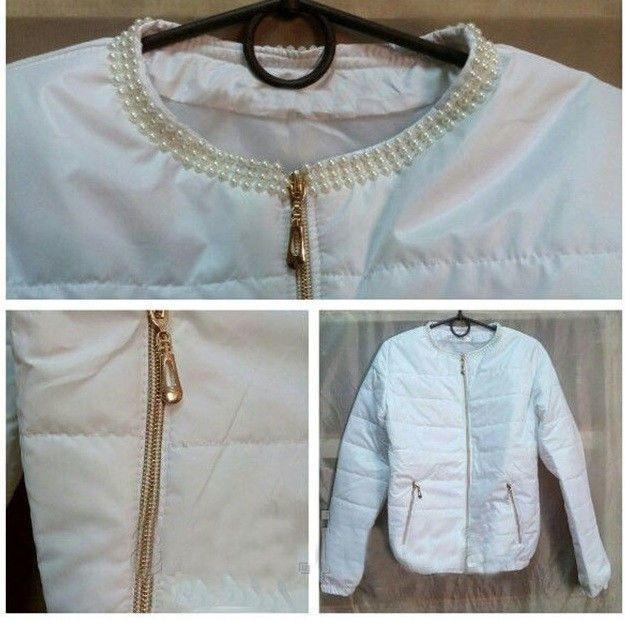 Куртка женская на синтепоне Бусины белая, куртки женские  продажа ... 5551fa420ff