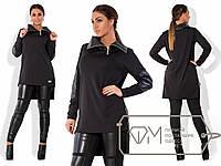 Стильный черный костюм батал, туника+лосины. Арт-1720/41