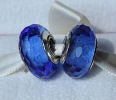 Шарм мурано синее ограненное стекло (pandora) из серебра 925 пробы пандора