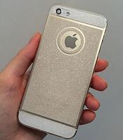 Силиконовый блестящий чехол темное серебро для Iphone 5/5S