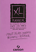 Склейка для маркера, гладкая, БЕЛАЯ, А4 (21х29,7см), 70г/м.кв., 100л.. XL, Canson
