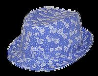 Шляпа детская челентанка х/б джинсовые бантики