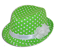 Шляпа детская челентанка цветы горох салатовый