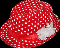 Шляпа детская челентанка цветы горохи белые на красном
