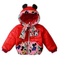 Детская весенняя курточка для девочки Микки Минни Маус, красная