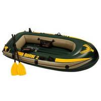 Надувная двухместная лодка Intex 68347 с веслами и насосом