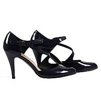 Роскошные женские туфли CloTiLDE (лаковые, синие, на удобном каблуке, летние, на ремешку)