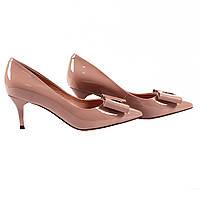 Роскошные женские туфли Deenoor (бежевые, лаковые, с красивим бантом, на удобном каблуке, летние, весенние)