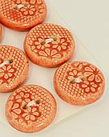 Пуговица красного цвета декоративная керамическая ручной работы