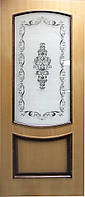 """Межкомнатные шпонированные двери Омис """"Наполеон ПО"""" с фотопечатью на стекле и шпоне, миланский ОРЕХ"""